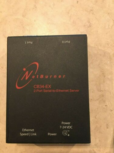 NETBURNER CB34EX-100IR 2-PORT SERIAL-TO-ETHERNET SERVER USED