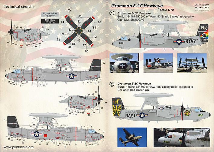 DECAL 1//72 SCALE PRINT SCALE 72-287 WET DECAL FOR GRUMMAN E-2 C HAWKEYE