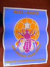 très belle affiche ancienne MIEL - APICULTURE ABEILLE ANNÉE 1940 / 1950 ( ref14