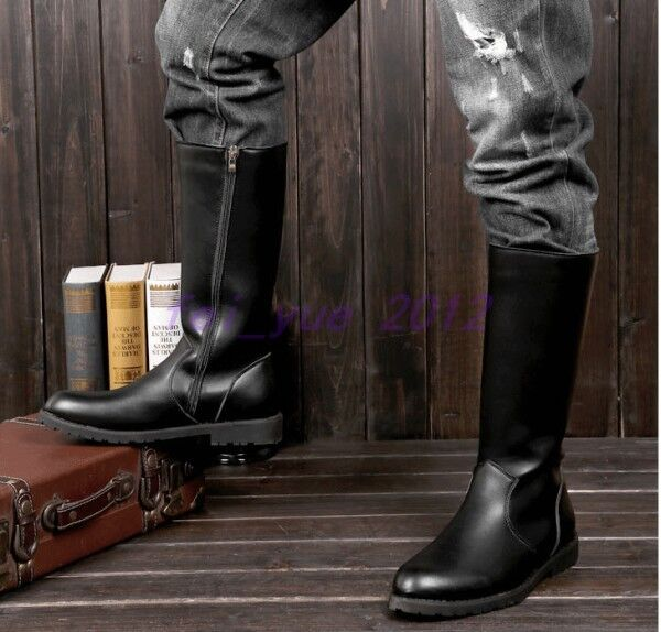 Mens Faux Leather Side Zip Mid Calf Knee High Riding Biker Equestrain Boots shoes