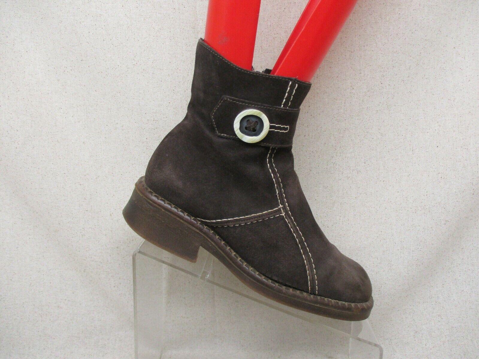 La Canadienne Gamuza Marrón botas al tobillo de moda de botón de Cremallera lateral Bota M