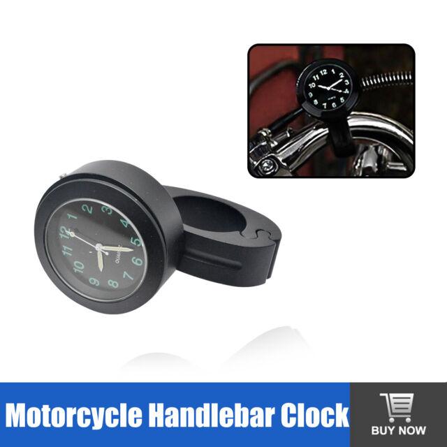 "Motorcycle Handlebar Mount Clock Glow In Dark Universal 7/8""1"" Waterproof Watch"