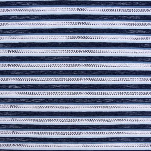 Sweatstoff Soft Sweat GOTS Bio Streifen weiß blau Töne 1,5m Breite