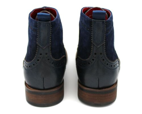 Leather Up Ankle 8 Military Uk Brogue Blue 42 985 Uomo Lace Boot Navy Eu Combat xSfnRwwAq