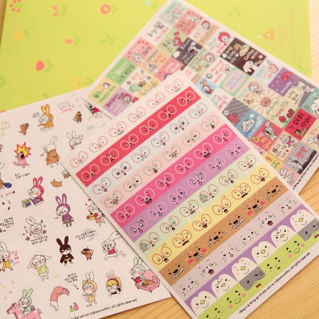 Sweet Rabbit Diary Book Sticker Scrapbook Calendar Notebook Label Decoration