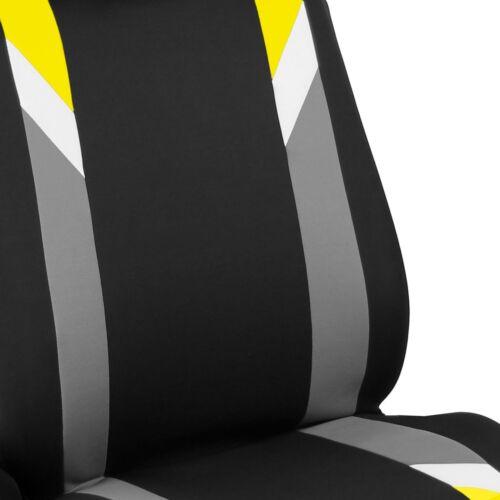Premium Modernistic Yellow Black Auto Car SUV Bucket Seat Covers Air Bag Safe