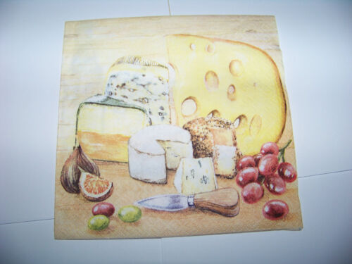 3 Servietten Taste of Cheese Käse Wein Napkin