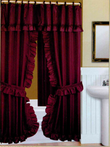 DOUBLE SWAG FABRIC SHOWER CURTAIN DOBBY DOT DESIGN LINER RINGS