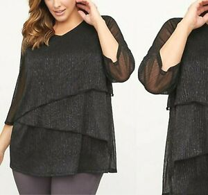 Womens-Plus-Size-3X-26-28-4x-Shimmers-Metallic-Tiered-Blouse-Top-Catherines