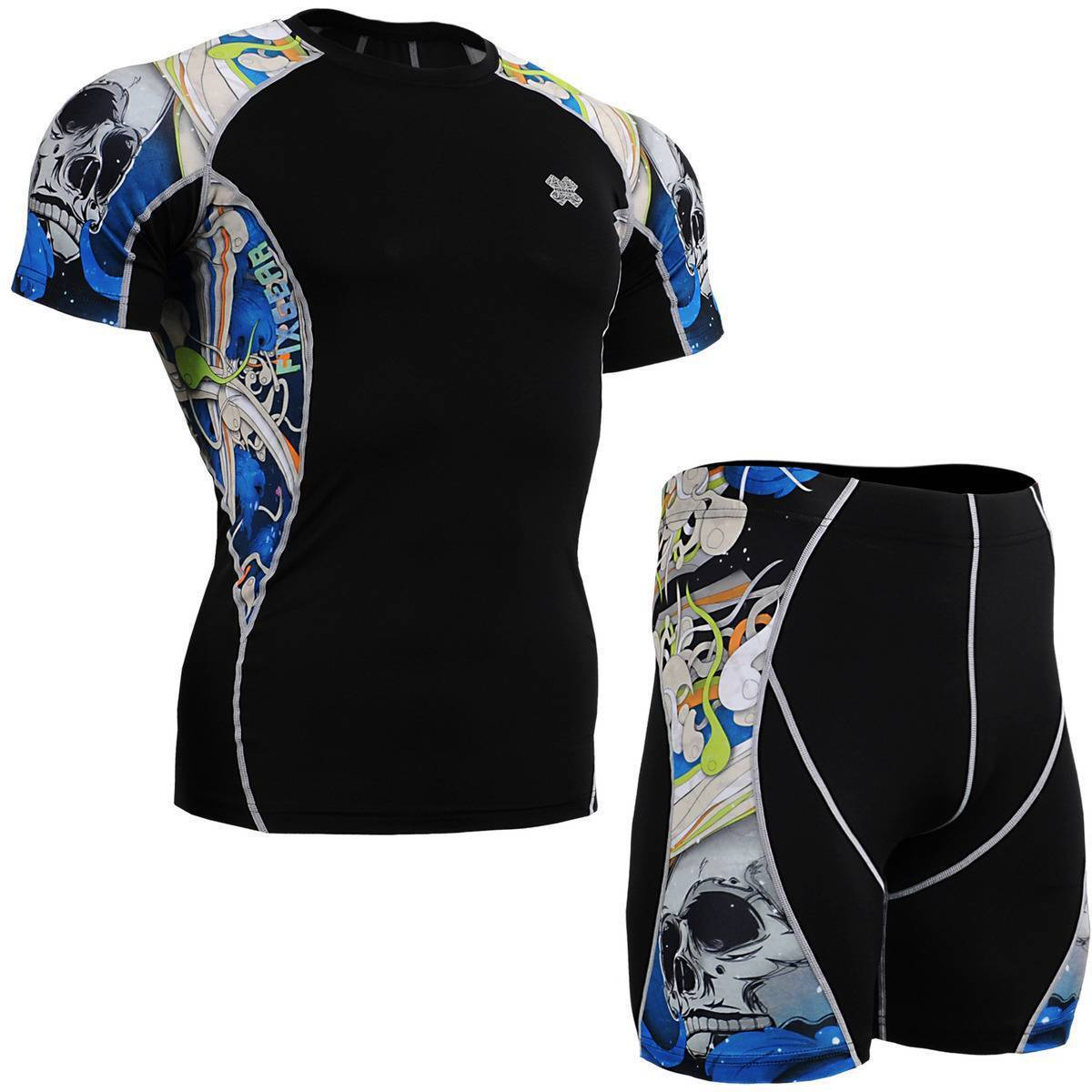 FIXGEAR C2S P2S-B19B SET Compression Shirts & Shorts Skin-tight MMA Workout GYM