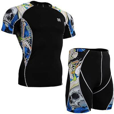 FIXGEAR C2S/P2S-B19B SET Compression Shirts & Shorts Skin-tight MMA Workout GYM