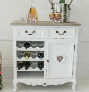 Image Is Loading Vintage Wine Rack Shabby Chic Cabinet White Bar