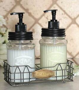 Vintage Shabby Chic Hoosier Jar Large Lotion Soap Dispenser With
