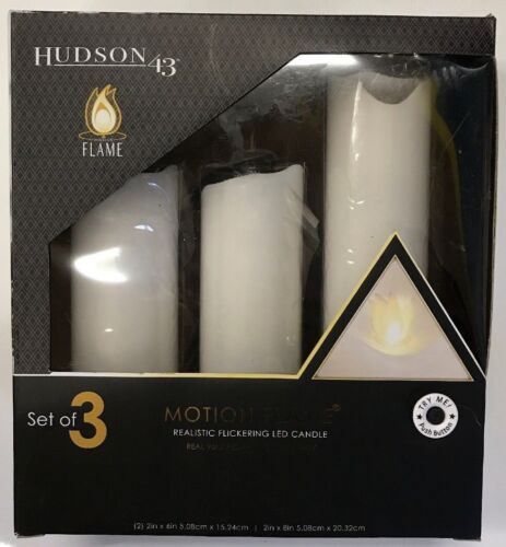 Hudson 43-3 piece Set White Motion Flame Candle Free Shipping Brand New