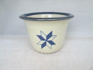 Brinker-Pots-Pottery-Butter-Dip-Crock-2-Piece-Blue-Star-Pattern-1994-USA