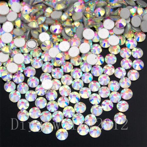 2880//7220Pcs Top Crystal Clear AB No Hotfix Rhinestones Flatback Nail Art 2-5mm