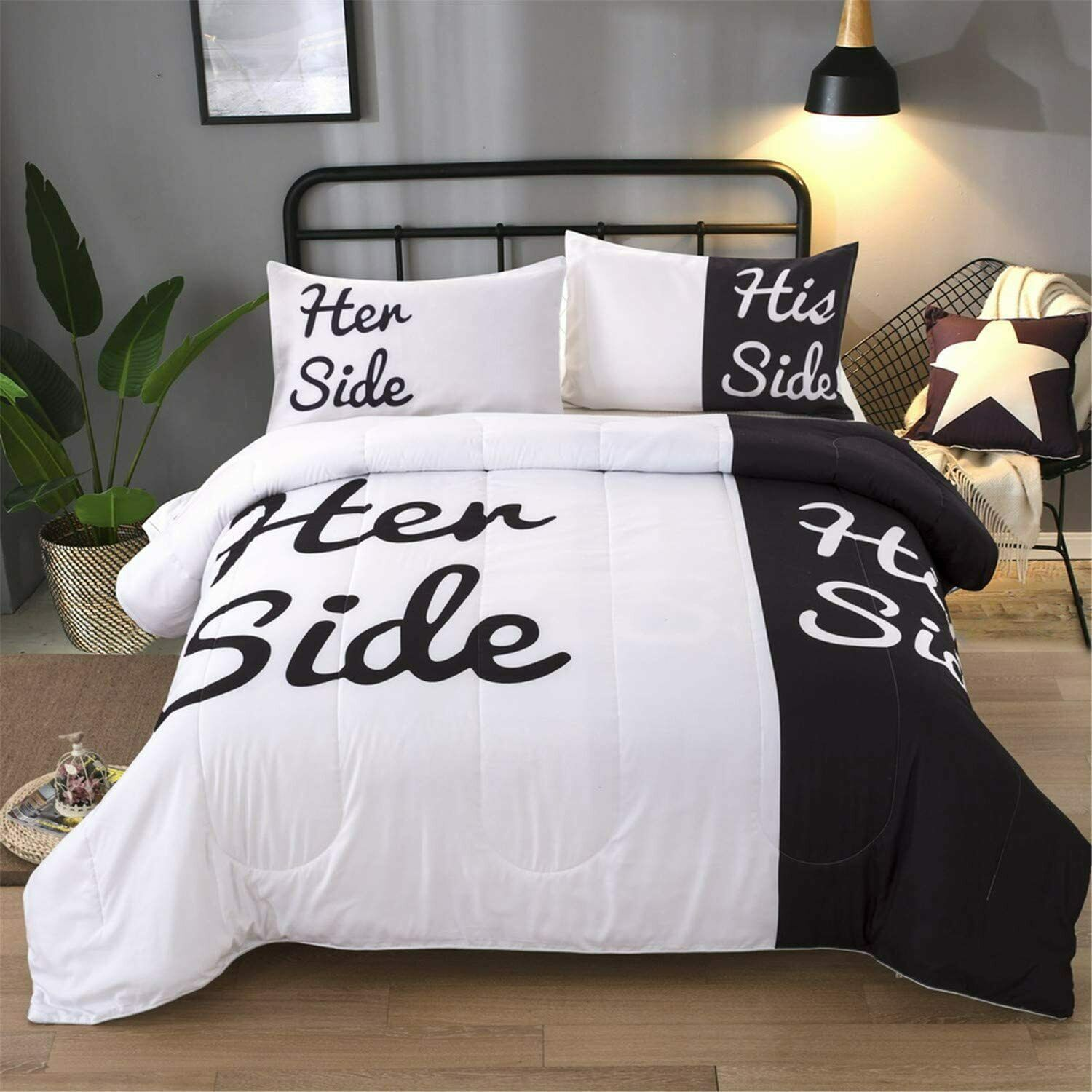 Black And White Comforter Set Queen Her Side And His Side Printed Bedding Solid For Sale Online Ebay