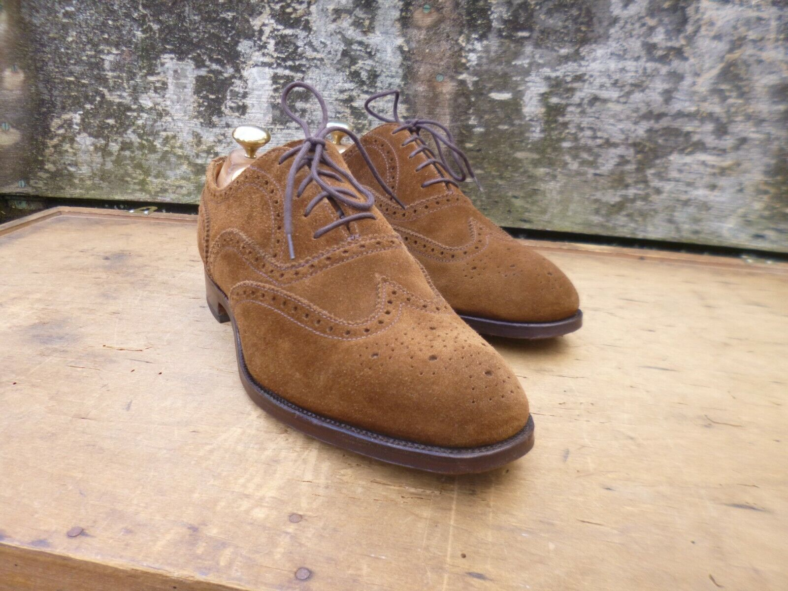 ALFRED Ssilver BROGUES – BROWN   TAN SUEDE – – DULWICH -EXCELLENT CONDITION