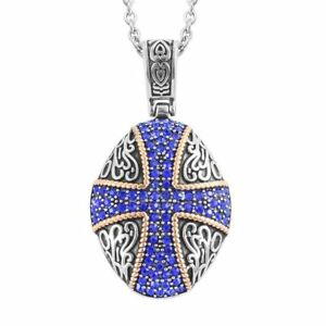 MEDIEVAL-CROSS-BLUE-AUSTRIAN-CRYSTAL-STAINLESS-STEEL-HYPOALLERGENIC-NECKLACE-20-034