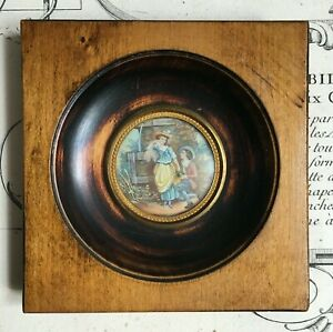 Miniature-XIXe-Scene-Galante-Fontaine-Victorian-French-Handpainted-19thC