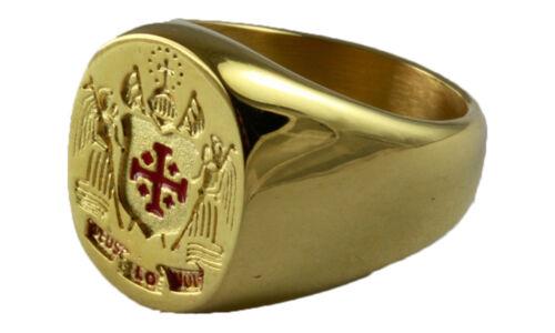 JERUSALEM KREUZ RING EDELSTAHL GOLD PLATED VERGOLDET WAPPENRING SIEGELRING 202