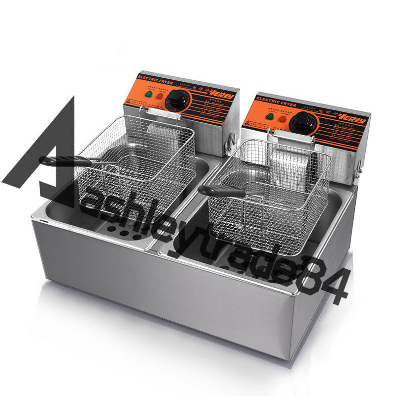 12 L Double cylindre double tamis Electric Fryer Potato Poulet Poêle 220 V