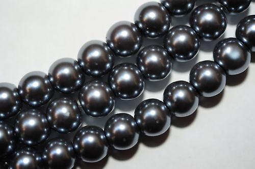 40 GLASWACHSPERLEN 10 MM DUNKEL GRAU AB5-05