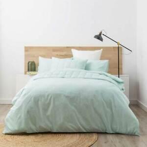 PARK-AVENUE-Washed-Chambray-100-Cotton-Quilt-Duvet-Cover-Set-FRESH-MINT