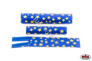 FLITE old school BMX bicycle padset foam racing pads STARS BLUE /& YELLOW