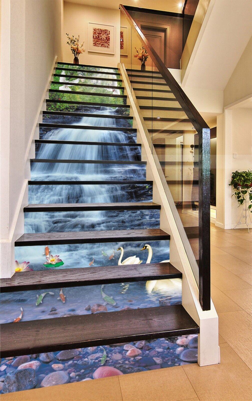 3D Water bird swan7 Stair Risers Decoration Photo Mural Vinyl Decal Wallpaper UK