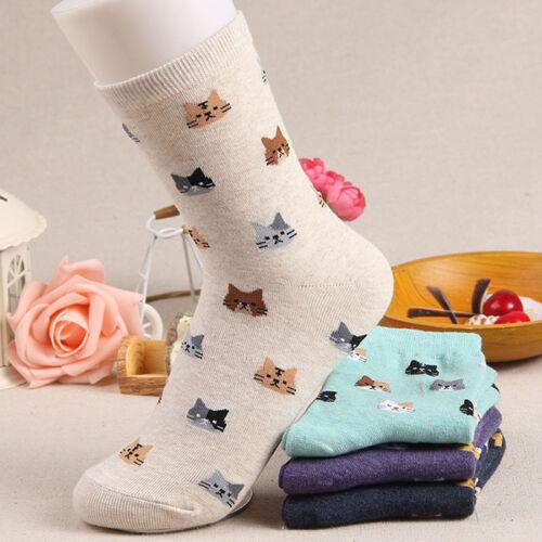 1pair Cat Face Socks Options Mini Cats Ladies Women Socks Cotton Blend 5Colors s