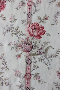Antique-Country-French-Floral-Victorian-Cotton-Linen-Home-Fabric-L-39-034-X-W-32-034