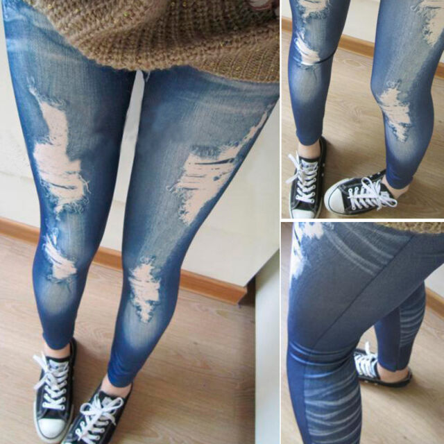 Sexy Womens Girls Faux Denim Jean Look Skinny Leggings Jeggings Tights Pants