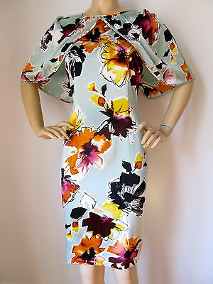 NEW ST JOHN KNIT 4 MINT JULEP ORANGE YELLOW BLACK BURGUNDY MULI CAPE DRESS SILK