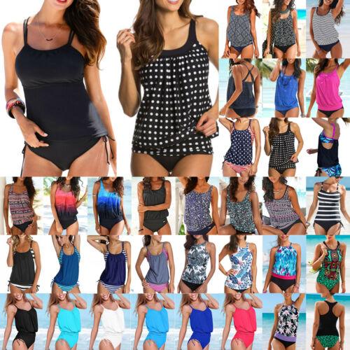 Womens Tankini Set Bikini Sporty Swim Summer Swimsuit Swimwear Swimming Costume