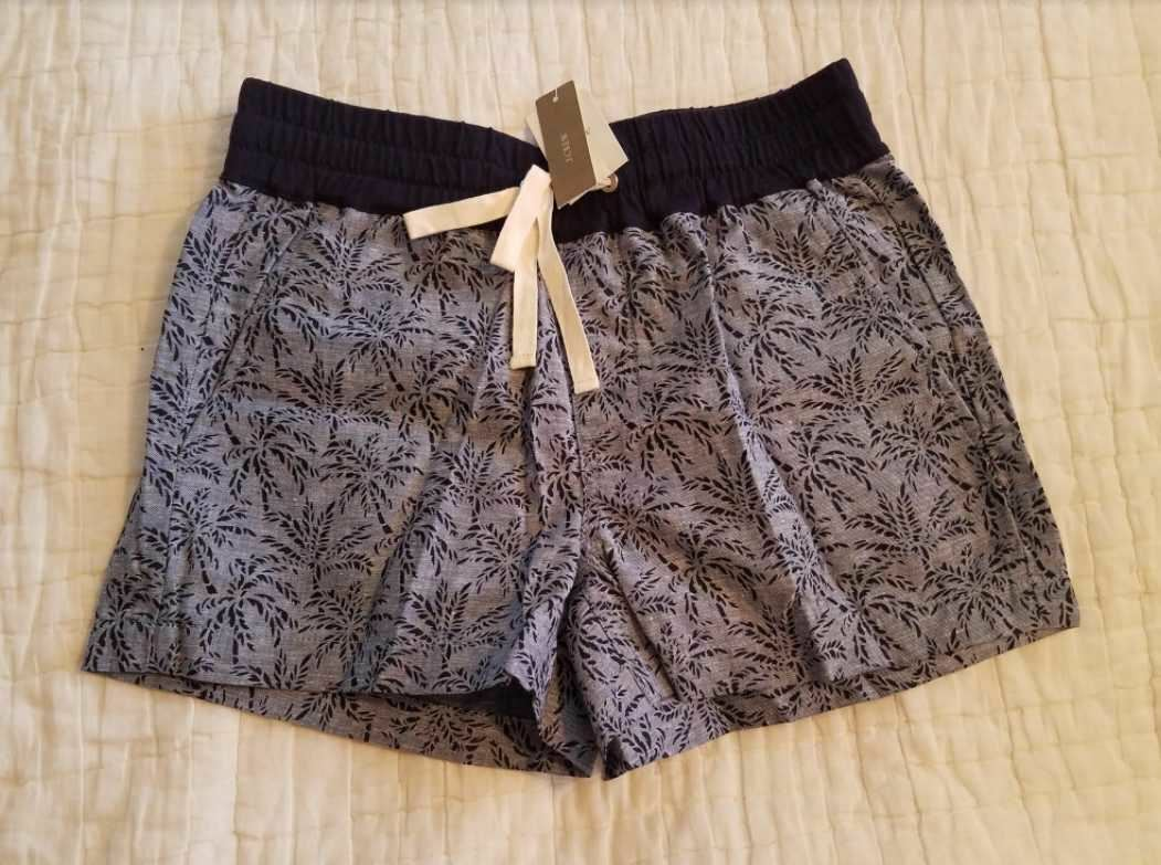 NEW WOMENS 00 J CREW PULL ON PALM TREE SHORTS IN NAVY SEA C0790