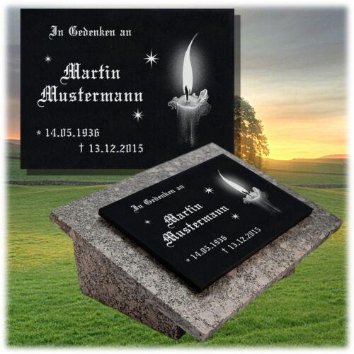 Granit Grabplatte Grabtafel Grabschmuck 25x20 cm Wunsch Gravur Grabstein gg31s