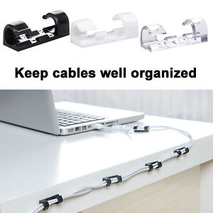 20x Self-Adhesive Cable Clips Organizer Wire Cord Holder Management Home Office