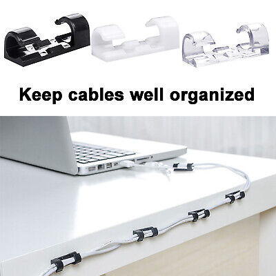20 x Cable Clips Management Holder Cord Wire Line Organizer Self-Adhesive New