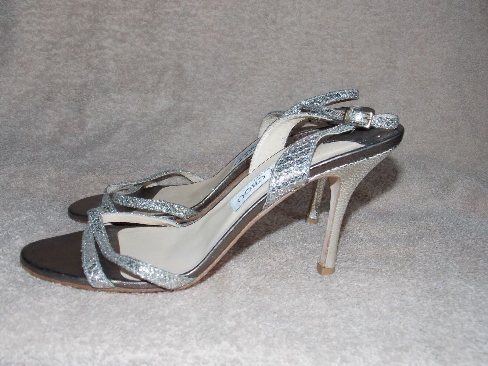Jimmy Jimmy Jimmy Choo GLITTER Holiday Strappy Open Toe Heels 38.5 For mujer Used 807d06