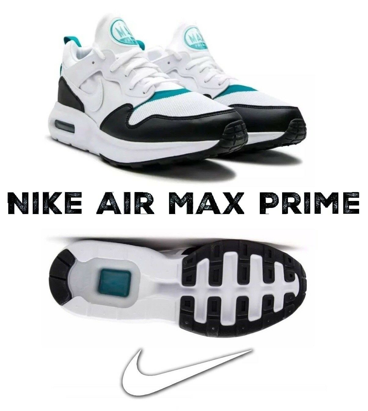NIKE AIR MAX PRIME WHITE TURBO GREEN-PERFORMANCE SHOES SNEAKERS MEN's 9 -NEW+BOX