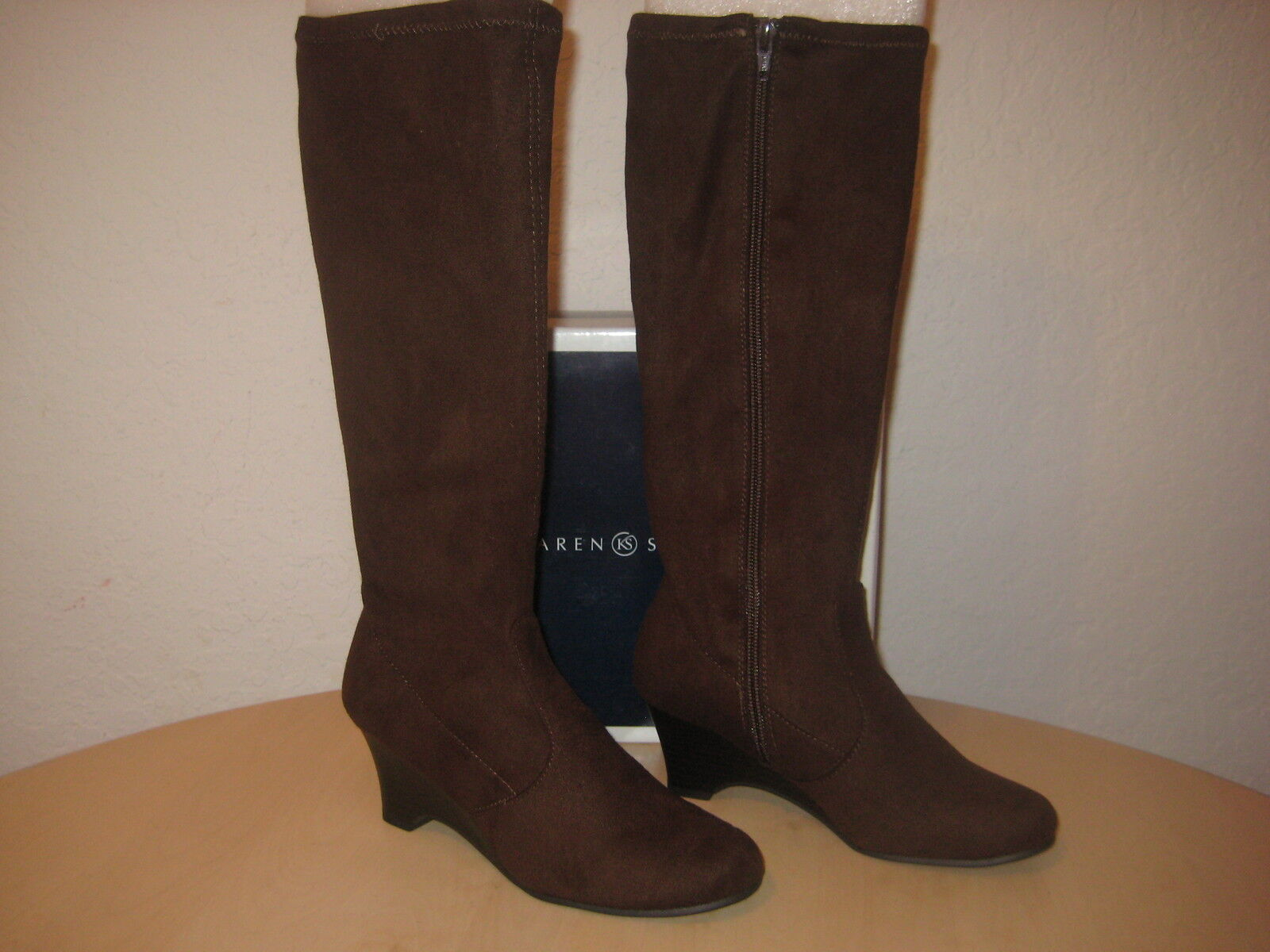 Karen Scott shoes Size 5.5 M New Womens Lena Brown Fashion Wedge Boots NWB