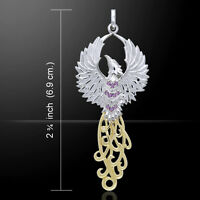 Rising Phoenix Gold & Sterling Silver Pendant Gemstone Choice By Peter Stone