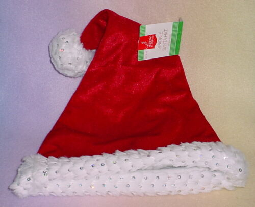 MEDIUM 3 COLORS * SPARKLE SANTA HAT NEW 17 INCHES HOME ELEMENTS