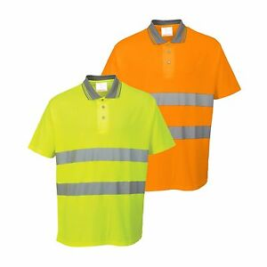 Portwest-S171-High-Visibility-Cotton-Comfort-Safety-Polo-Shirt-Workwear