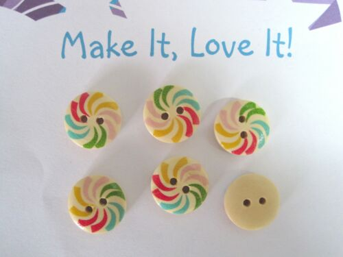 6 x 15mm RAINBOW SWIRL WINDMILL PRINT WOOD BUTTONS 4 HOLE SEWING CRAFT WOODEN