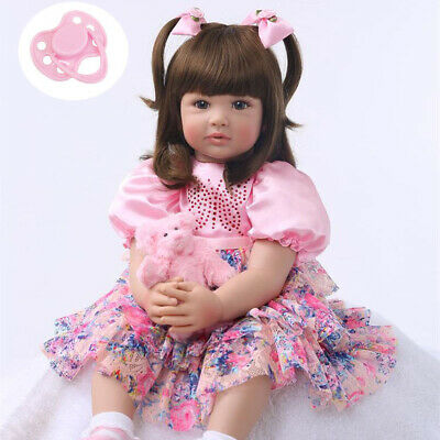 """24/"""" Toddler Doll Girl Lifelike Baby Doll Silicone Realistic Baby Reborn Girl Toy"""