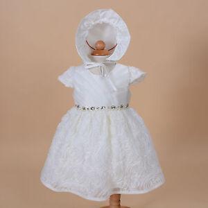 NUEVO-Bautismo-de-bebe-vestido-fiesta-con-gorro-Rosa-Fucsia-Marfil-0-3-6-12-18
