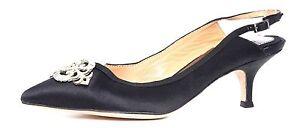 Badgley Mischka Women's Black Crystal Satin Slingback Kitten Heel 2539 Sz 6 M