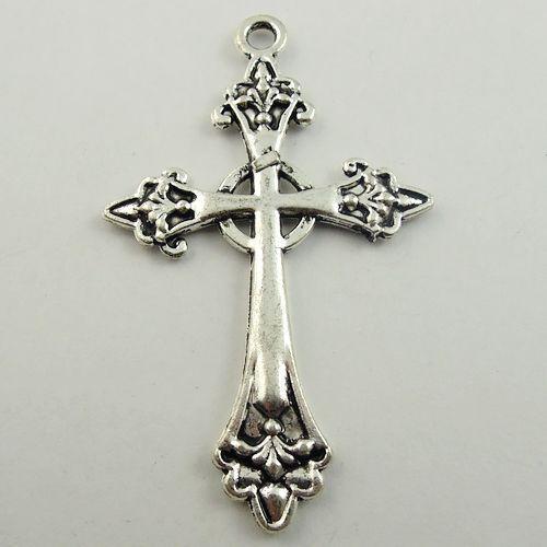 64*40mm Style Antique Argent Look prier Croix Bijoux Charm Pendentifs 10pcs